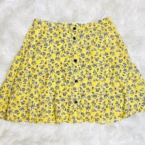 H&M Floral Yellow Skater Skirt, EUC